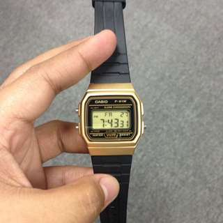 Casio Gold and Black Rubber Strap (Water Resist)