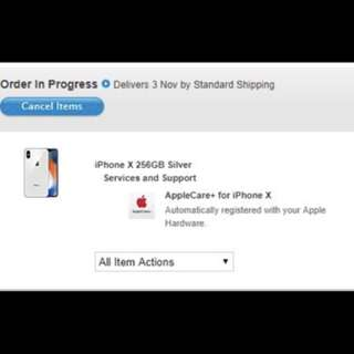 iPhone X 256 G silver