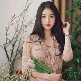 Beige Flora Blouse (small print) - Korean Style