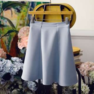 Blue A-Line Umbrella Skirt