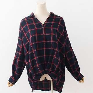 日本原單 格仔寬鬆V領恤衫