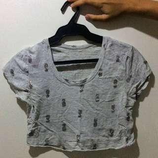 REPRICED Pineapple Gray Crop Top