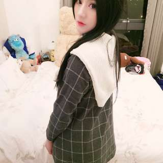 韓版學院假兩件洋裝上衣