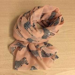 ❤️淡粉色斑馬大圍巾/披巾#幫你省運費