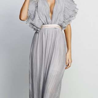 StyleKeepers  LUXE LINE: TAKE THE HINT BACKLESS PLEATS DRESS - GREY