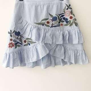 Dotti Striped Embroidered mini