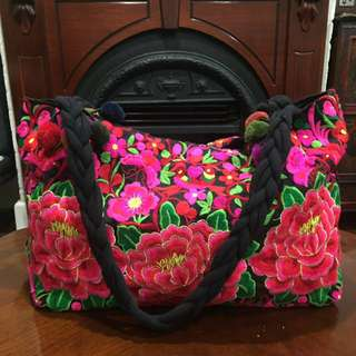 Floral embroidered bag from Nepal