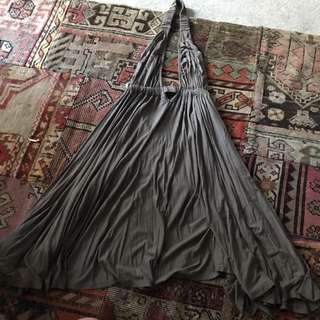 Khaki Low Front Flowy Dress