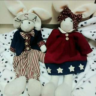 美國風 情侶兔🐰 情人節 結婚禮物 娃娃