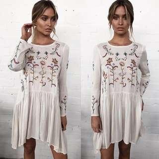 Embroidered Floral Summer Dress