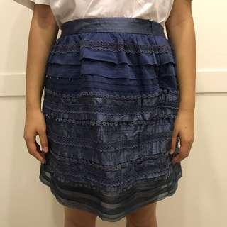 Laicarfore 萊卡佛 分層蕾絲深藍及膝裙 蛋糕裙 M Size    #幫你省運費