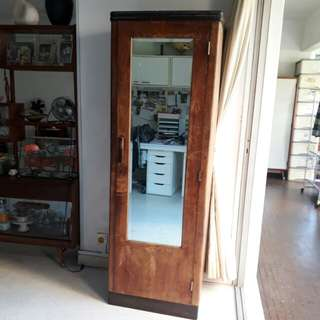 SALE Slim vintage art deco teakwood cupboard wardrobe bookcase cabinet