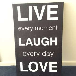Black and white canvas 'live, laugh, love'
