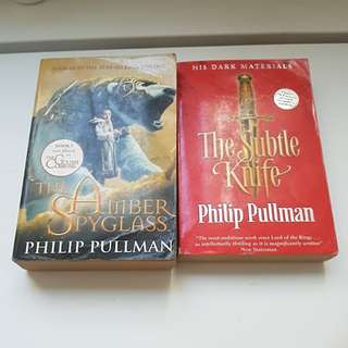 His Dark Materials by Philip Pullman ( The subtle Knife and The Amber Spyglass)