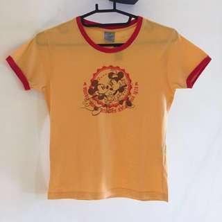 Disney 迪士尼 正版 卡通 米老鼠 米奇 米妮 黃色 短袖 上衣