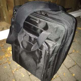 Black soft shell carry on luggage