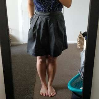 Faux leather pleat skirt