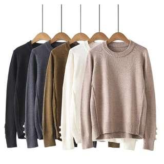 韓版簡約氣質珍珠毛衣