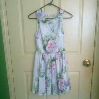 White floral Satin dress size 8