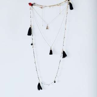 2 layered dynamite gold minimalistic necklaces, 3 each
