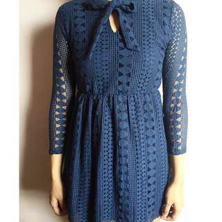 Navy blue lacey dress