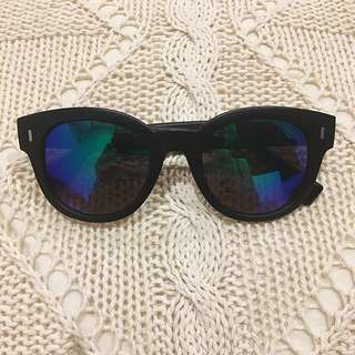 HOLOGRAPHIC MATTE BLACK SUNGLASSES
