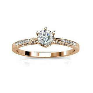 Swarovski® Crystals - Destiny Ring (Rose Gold) (18K White Gold Plated)