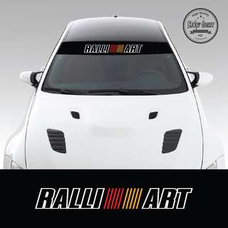 "Sunshade Windshield sun visor with design for car windscreen vinyl decal sticker ""mitsubishi Ralli Art 1"""