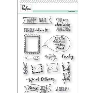 Pink fresh happy mail stamps set