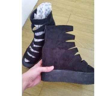 REPRICED Black Open Toe Hidden Wedge Shoe