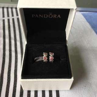 2x Pandora Heart Pink Spacer
