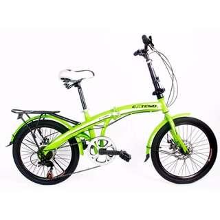 "Extend 20"" Folding Bike Shimano Disc Brakes Gears Green"