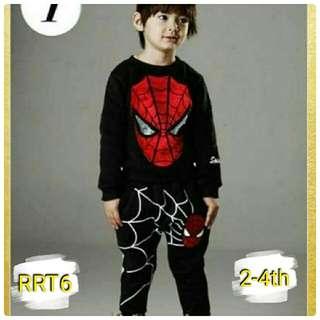 Setelan celana baju import lengan panjang jumper spiderman murah cute