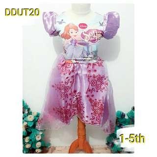 baju dress anak pesta cetak kostum costume princess sofia sopia ungu