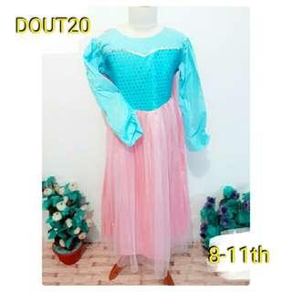 baju dress kostum anak princess elsa biru tutu mewah blink pink oke