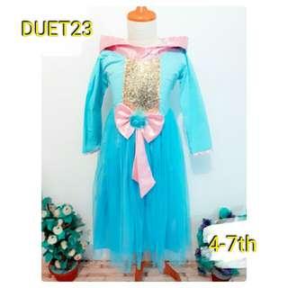 dress baju anak karakter aurora princess disney import 4 5 6 7 th ori