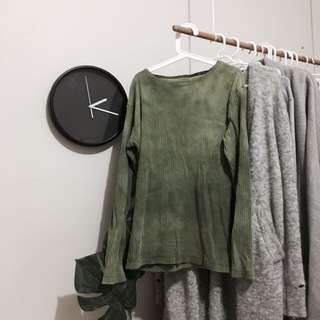 VINTAGE SMALL LONG SLEEVE OLIVE SHIRT