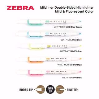 Zebra Mildliner Double-Sided Highlighter- Fine/Bold- Mild & Fluorescent Color