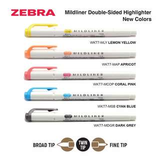 Zebra Mildliner Double-Sided Highlighter - Fine / Bold - 5 New Colors