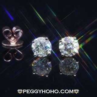 ((超值抵戴貨品)) 全新18K玫瑰金((單頭62份)) 真鑽石 4 爪 耳環一對 ((男女合用))