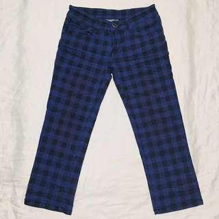 Denim Checkered Crop Jeans