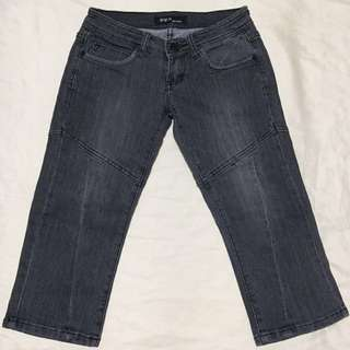 Grey Denim Crop Jeans