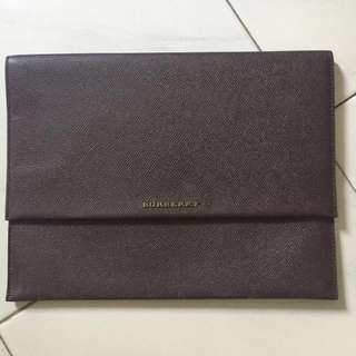 Burberry dark purple leather envelope clutch bag