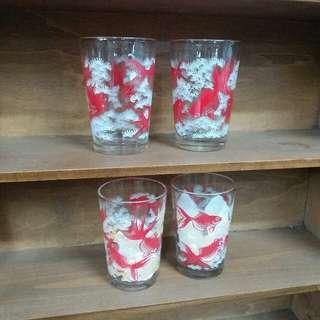 中古懷舊~金魚圖案玻璃杯$68/隻