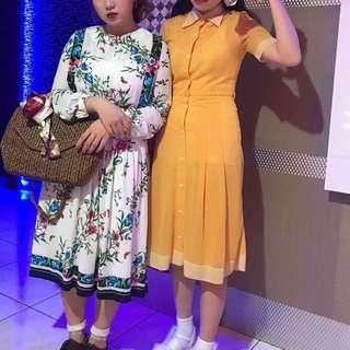 右邊黃色可愛復古洋裝