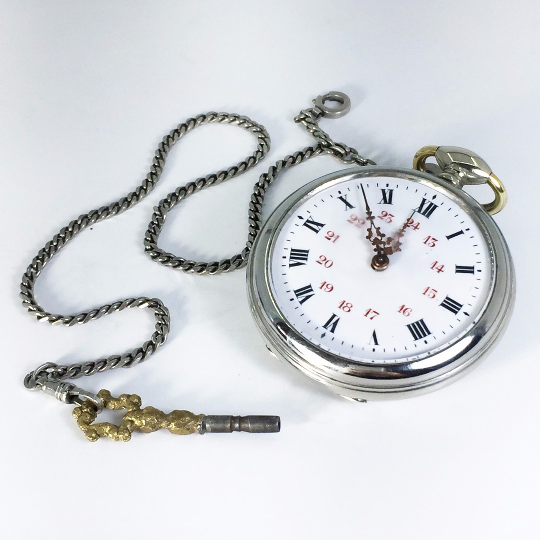 1940s French Made Beaucourt Key Wind Open Face Pocket Watch