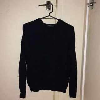Distressed knit hoodie