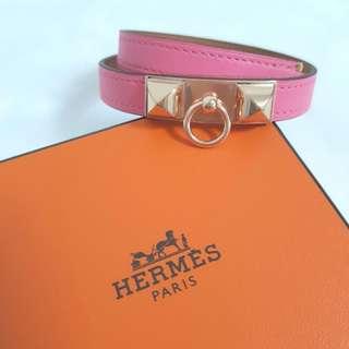 Brand New Hermes Rivale in Rose Azalee w Rose Gold Hardware