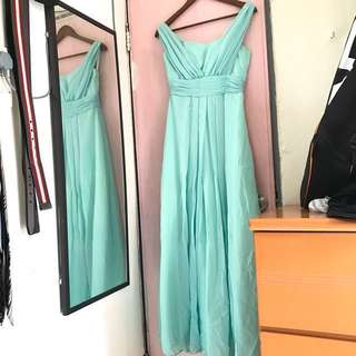 tiffany blue 晚裝 伴娘裙 飲宴裙 晚會裙 仙女裙 晚禮服 grad din 裙 連身裙 長裙 姊妹裙 連身長裙 結婚裙 婚禮裙