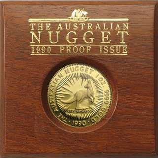 1990 Australia 1 oz Gold Proof Nugget (w/Box)
